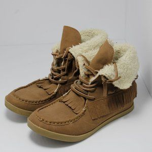 DLG Ankle Moccasins Size 7.5 BootsTassels suede br